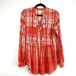 Mauve Anthropologie Printed Button Up Blouse